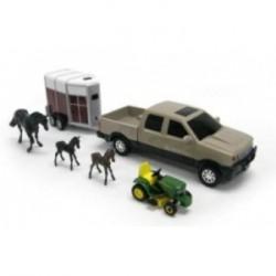 Pick-up JOHN DEERE et tracteur tondeuse et Van avec Cheval et poulains