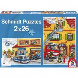 puzzle pompier et police