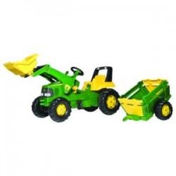 Tracteur pédale John Deere avec chargeur et remorque